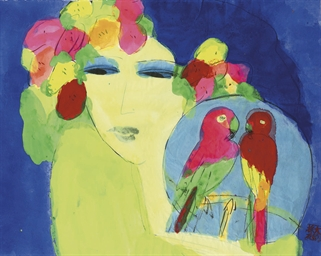 Woman with two parrots