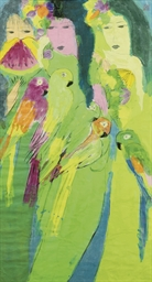 Three women, five parrots