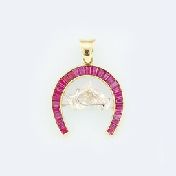 A diamond and ruby pendant