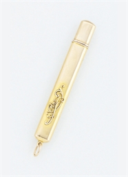 A gold pencil holder by Faberg