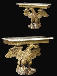 A PAIR OF ENGLISH GILTWOOD EAG