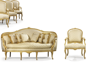 A LATE LOUIS XV SUITE OF GILTW