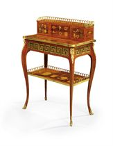 A LOUIS XV ORMOLU-MOUNTED TULIPWOOD, KINGWOOD AND MARQUETRY BONHEUR-DU-JOUR