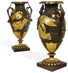 A PAIR OF LARGE PARCEL-GILT 'B