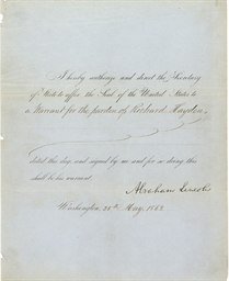 LINCOLN, Abraham. Partly print