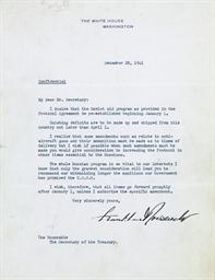 ROOSEVELT, Franklin D. Typed l
