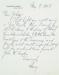 TRUMAN, Harry S. Autograph let