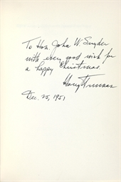 TRUMAN, Harry S. Address of th