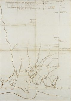 WASHINGTON, George. Autograph manuscript topographical map of Mount Vernon on the Potomac River and its surroundings, captioned on verso by Washington Sketch of the Roads & Country between Little Hunting Creek and Colchester, n.p., [Mount Vernon?], n.d. [before 1769].