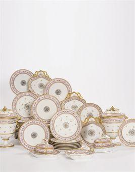 Partie de service de table en porcelaine de paris moitte - Porcelaine de table ...