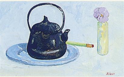 Black iron teapot, viola and p
