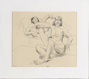 Untitled (Two nudes resting by