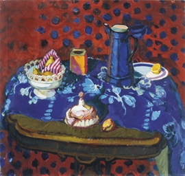 Still life in red and blue