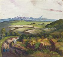 Panoramic landscape; and two companion paintings