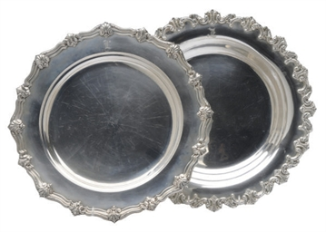 TWO AMERICAN LARGE SILVER DISH