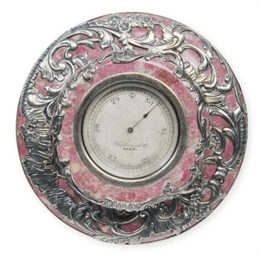 A PINK HARDSTONE THERMOMETER W