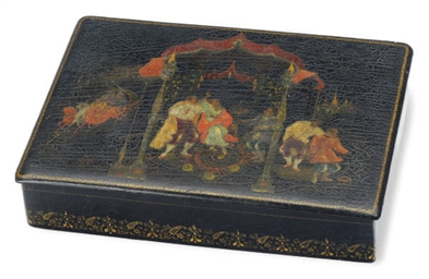 A RUSSIAN LACQUER BOX WITH HIN