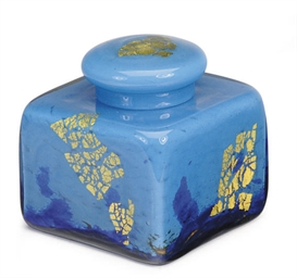 A FRENCH MOTTLED GLASS INKWELL