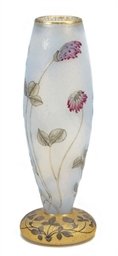 A FRENCH GLASS VASE ENAMELED W