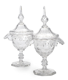 A PAIR OF CUT GLASS SWEETMEAT