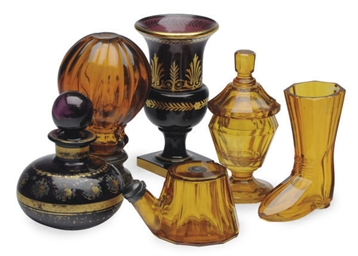 A GROUP OF BOHEMIAN AMBER AND