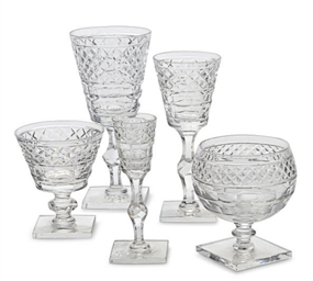 A LARGE CUT GLASS DRINKWARE SE