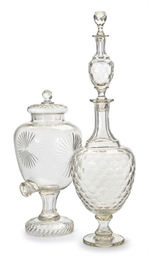 A LARGE CUT GLASS DOUBLE DECAN