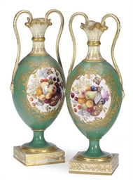 A PAIR OF ENGLISH SEVRES-STYLE