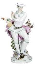 A GERMAN PORCELAIN LARGE FIGUR