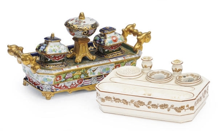 TWO ENGLISH INKSTANDS,