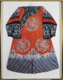 A FRAMED CHINESE RED EMBROIDER