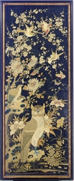 A FRAMED CHINESE STYLE SILK BL