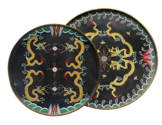 TWO CHINESE CLOISONNE CIRCULAR