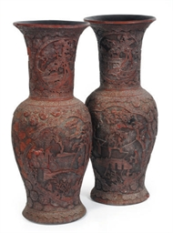 A PAIR OF LARGE CHINESE RED CI