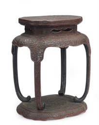 AN ASIAN LACQUERED STOOL,