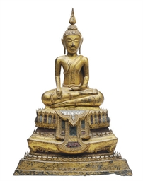 A BURMESE GILT BRONZE SEATED B