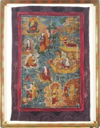 A FRAMED TIBETAN THANGKA OF TH