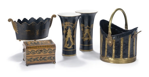 A GROUP OF SIX BLACK AND GILT-