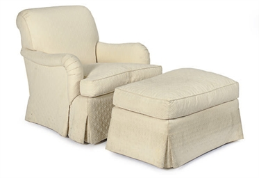 AN UPHOLSTERED CLUB CHAIR AND
