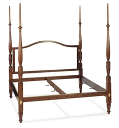 A MAHOGANY FOUR-POSTER BED,