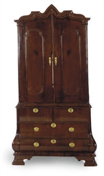 A DUTCH MAHOGANY LINEN PRESS,