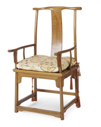 A CHINESE HARDWOOD ARMCHAIR,