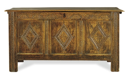 AN ENGLISH CHESTNUT COFFER,