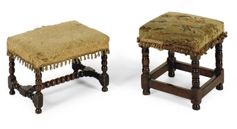 TWO OAK FOOTSTOOLS,