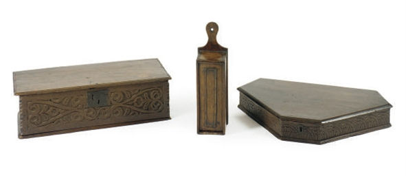 THREE ENGLISH CARVED OAK BOXES