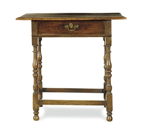 AN ENGLISH OAK WORK TABLE,