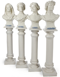 A SET OF FOUR GLAZED PORCELAIN