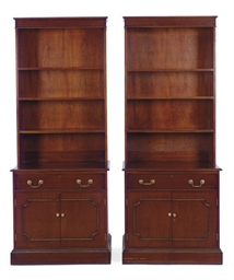 A PAIR OF MAHOGANY BOOKCASE-CA