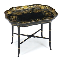 A VICTORIAN BLACK AND GILT-DEC