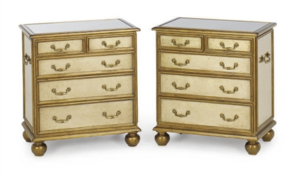 A PAIR OF GILT-DECORATED CHEST